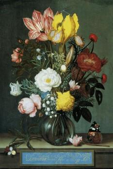 012. Живопись: Букет цветов в стеклянной вазе. Художник Ambrosius Bosschaert the Elder