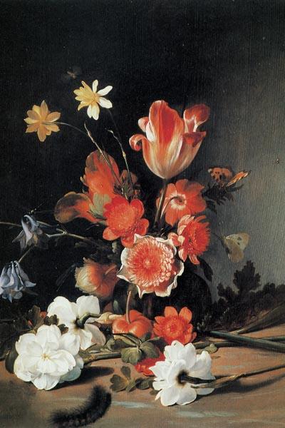 018. Живопись: Цветочный натюрморт. Художник Дирк де Брай (1635-1694)