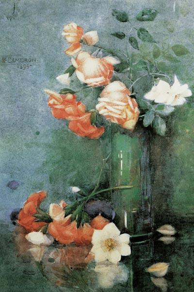 027. Живопись: Натюрморт с розами в стеклянной вазе, 1894. Художник Кэтрин Камерон