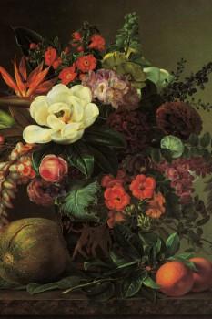 035. Живопись: Экзотические цветы с фруктами в греческом кратере на мраморном уступе. Йенсен Иоган Лоренц