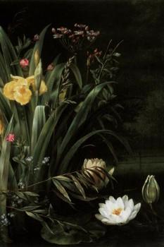 045. Живопись: Лилии в водоеме. Художник Hermania Sigvardine Neergard, 1799-1874