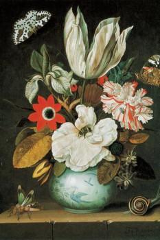 049. Живопись: Тюльпан и другие цветы в фарфоровой вазе. Художник Johannes Goedaert.