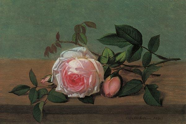 064. Живопись: Розы на фоне горного пейзажа
