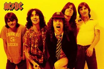012. Постер: AC/DC на желтом фоне