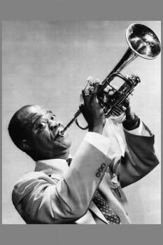022. Постер: Louis Armstrong фото с трубой