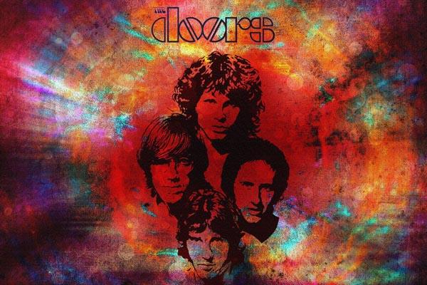 142-2. постер: группа the Doors на ярком фоне