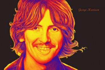 181. Постер: George Harrison на черном фоне
