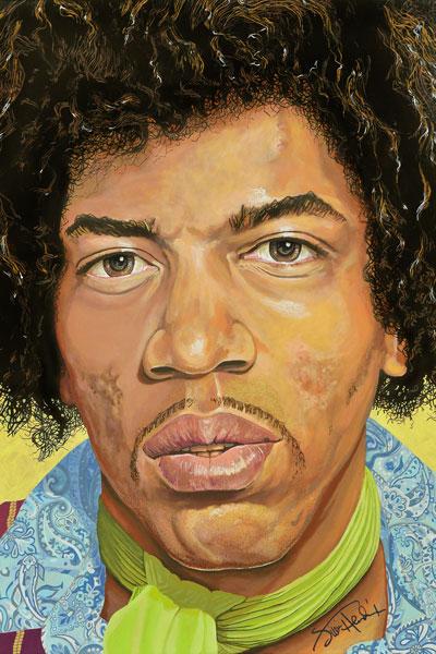 195-2. Постер: Jimi Hendrix, рисунок на холсте