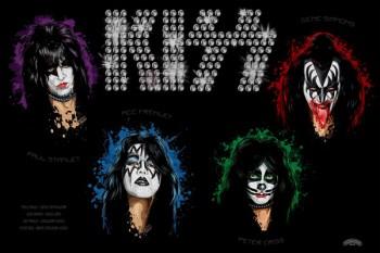 241. Постер: Kiss: Gene Simmons, Paul Stanley, Peter Criss, Ace Freyli - музыканты группы