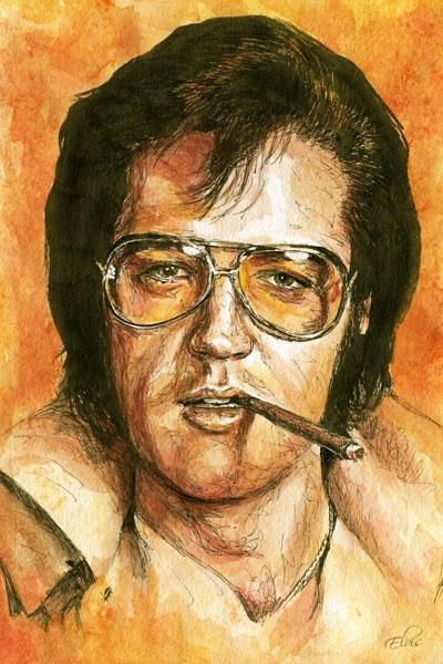 349. Постер: Король рок-н-ролла - Elvis Presley, рисунок акварелью