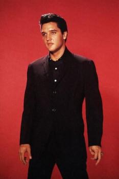 356. Постер: Студийный портрет Elvis Presley на красном фоне