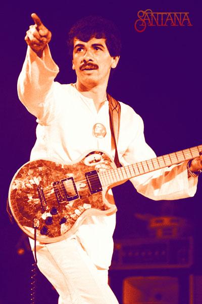 395. Постер: Santana на темно-синем фоне