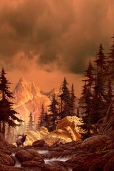 015. Пейзаж: В горах. Олень в горах