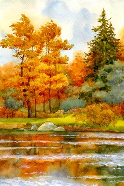 016. Пейзаж: Осень. У реки (акварель)