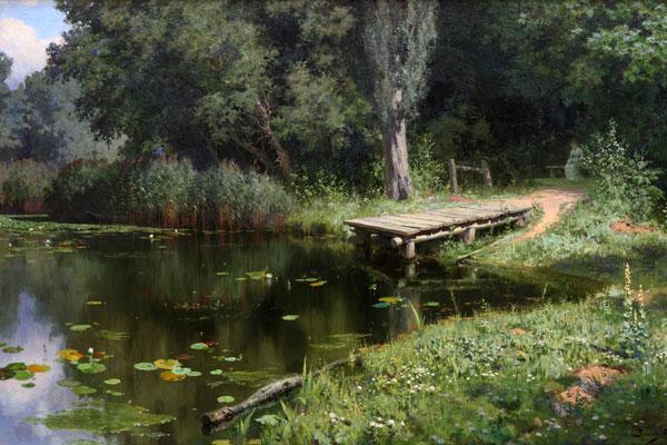 027. Пейзаж: Заросший пруд