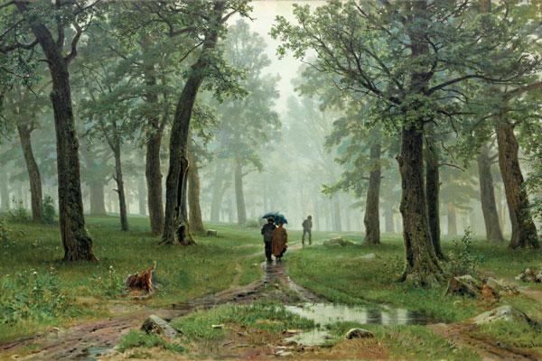 039. Пейзаж: Дождь в дубовом лесу