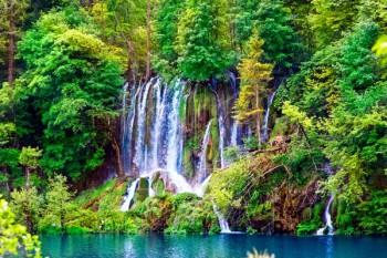 044. Пейзаж: Водопад в лесу