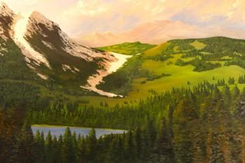 052. Пейзаж: Лесной горный массив.(масло)