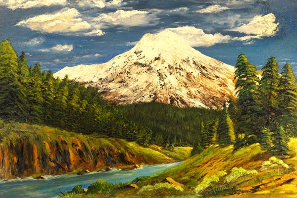 053. Пейзаж: Белая гора в лесу.