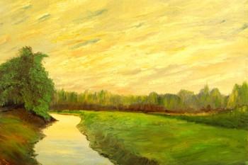 070. Пейзаж: В поле у реки (акварель)