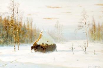 """085. Зимний пейзаж """"С лосями"""" Муравьев В. Л"""