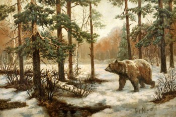"""088. Пейзаж """"Медведь в лесу"""" Муравьев В. Л"""