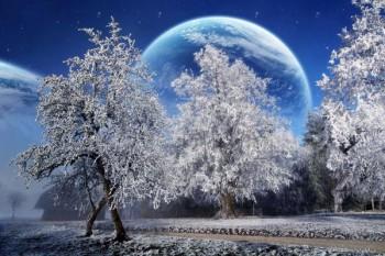 100. Пейзаж: Фантастический зимний пейзаж