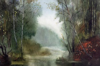 101. Пейзаж: Лесная река (акварель)