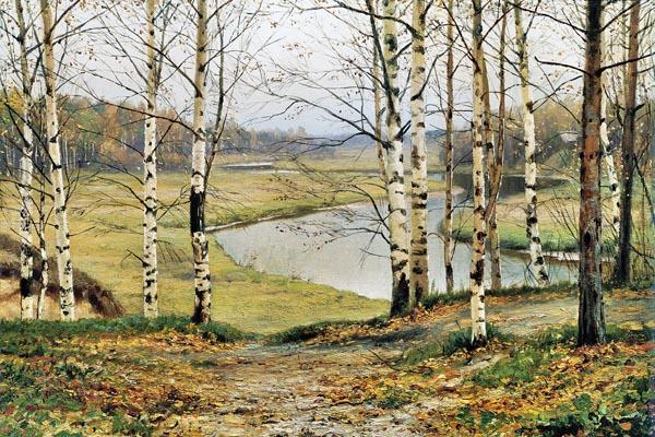102. Пейзаж: Березы в октябрь