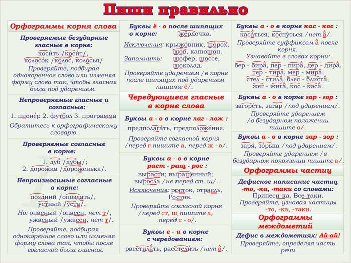 34. Плакат по русскому языку: Пиши правильно - орфограммы корня слова