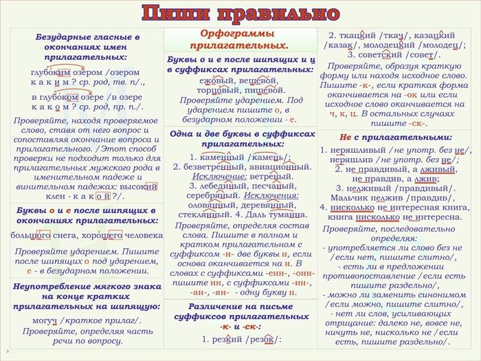 36. Плакат по русскому языку: Пиши правильно - орфограммы прилагательных 1
