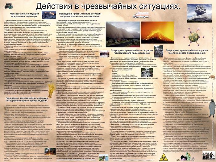038 Плакат по ОБЖ: Действия в чрезвычайных ситуациях (Часть 1)