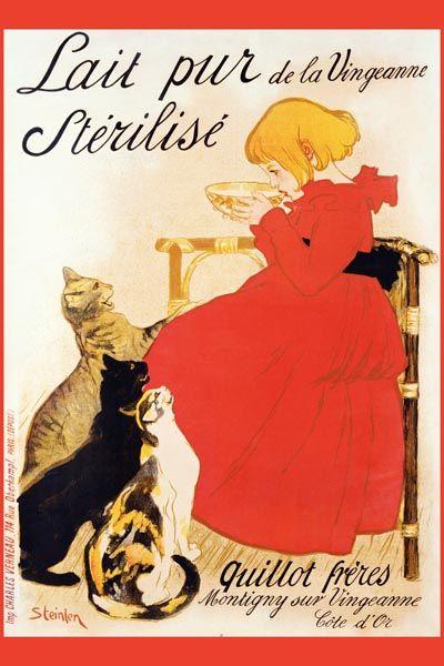 006. Ретро плакат западных стран: Lait pur. Sterilise Poster by Theophile Alexandre Steinlen