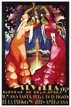 013. Ретро плакат западных стран: Sevilla Fiestas de Primavera 1930. Poster by Parrilla
