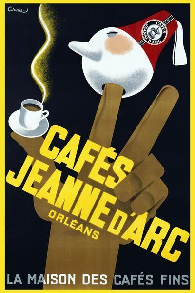 017. Ретро плакат западных стран: Cafes Jeanne d'Arc. Poster by Carl Chew