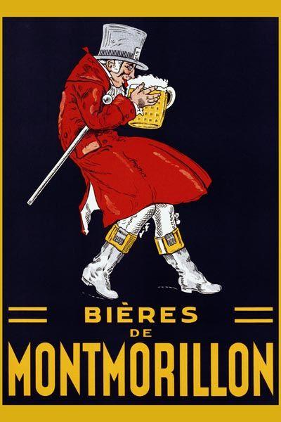 020. Ретро плакат западных стран: Bieres de Montmorillon Poster