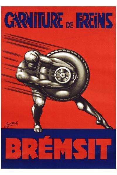 021. Ретро плакат западных стран: Bremsit Poster by Paul Mohr