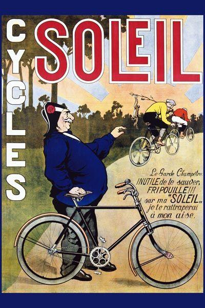 022. Ретро плакат западных стран: Cycles. Soleil Poster