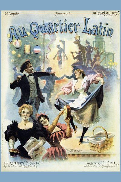024. Ретро плакат западных стран: Au Quarter Latin. Poster by Paul Merwart