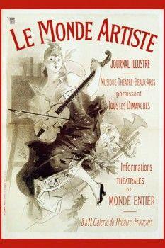 026. Ретро плакат западных стран: Le Monde Artiste. Poster by Jules Cheret