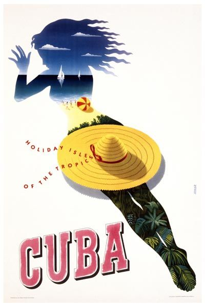 031. Ретро плакат западных стран: Cuba, Holiday Isle of the Tropics. Poster by Julius Seyler