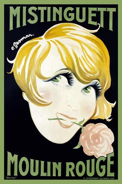 033. Ретро плакат западных стран: Mistinguett Moulin Rouge. Poster by Charles Gesmar