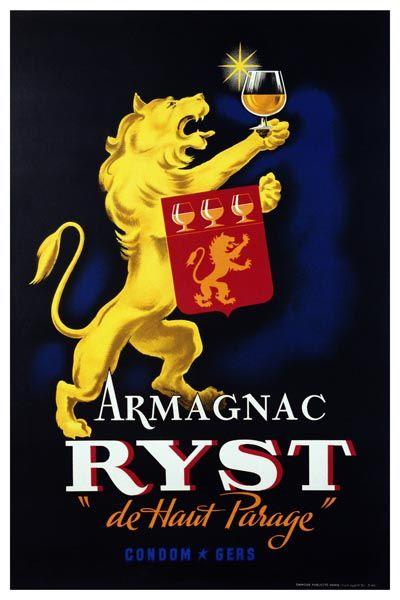 """034. Ретро плакат западных стран: Armagnac Ryst """"de Haur Parage"""". Poster"""