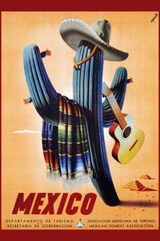 035. Ретро плакат западных стран: Mexico Travel Advertisement. Poster by Espert