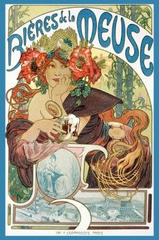 "036. Ретро плакат западных стран: Poster for ""Bieres de la Meuse"" by Alphonse Marie Mucha"