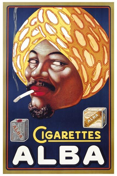 043. Ретро плакат западных стран: Poster Advertisement for Alba Cigarettes