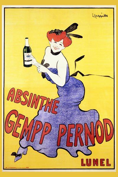 044. Ретро плакат западных стран: Absinthe Gempp Pernod. Poster by Leonetto Cappiello