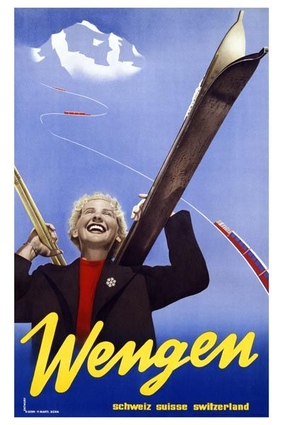 045. Ретро плакат западных стран: Wengen Travel. Poster by Entwurf, Paul Senn and P. Marti