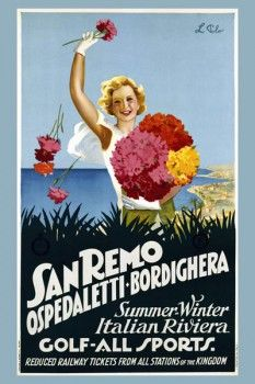047. Ретро плакат западных стран: San Remo Ospedaletti-Bordighera. Poster by L. Polo