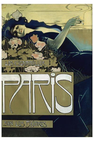 056. Ретро плакат западных стран: Illustration for Cigarettes: The Best are Paris by Aleardo Villa